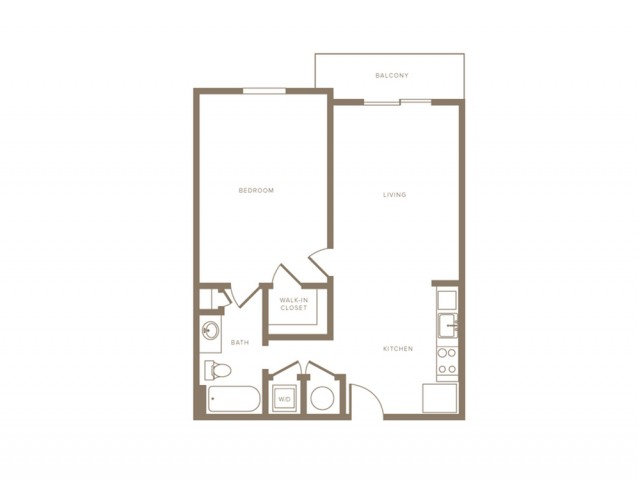 771 square foot one bedroom one bath phase II apartment floorplan image