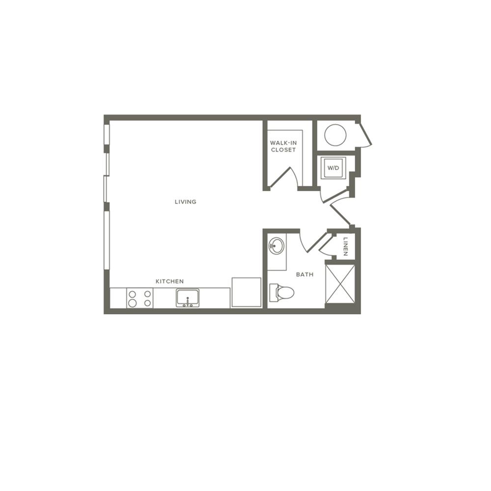 510 square foot studio one bath apartment floor plan image