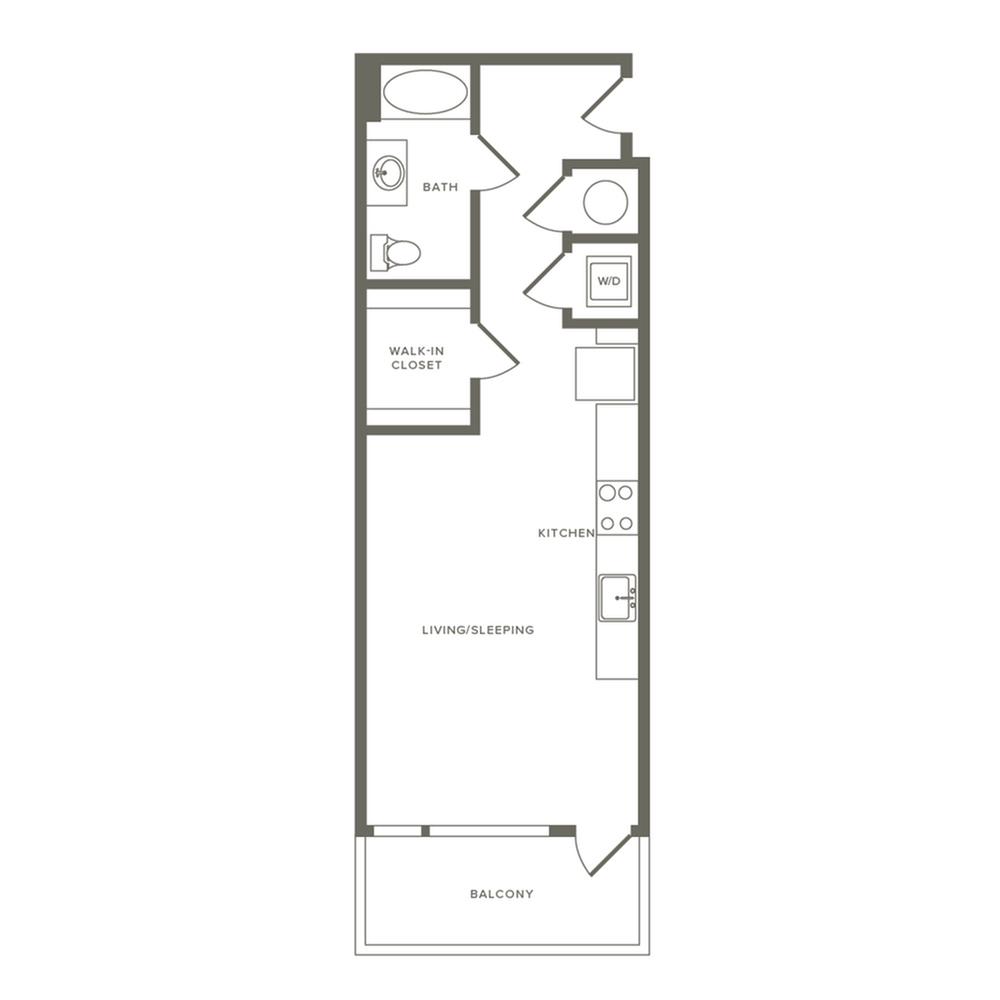 569 square foot studio one bath apartment floor plan image