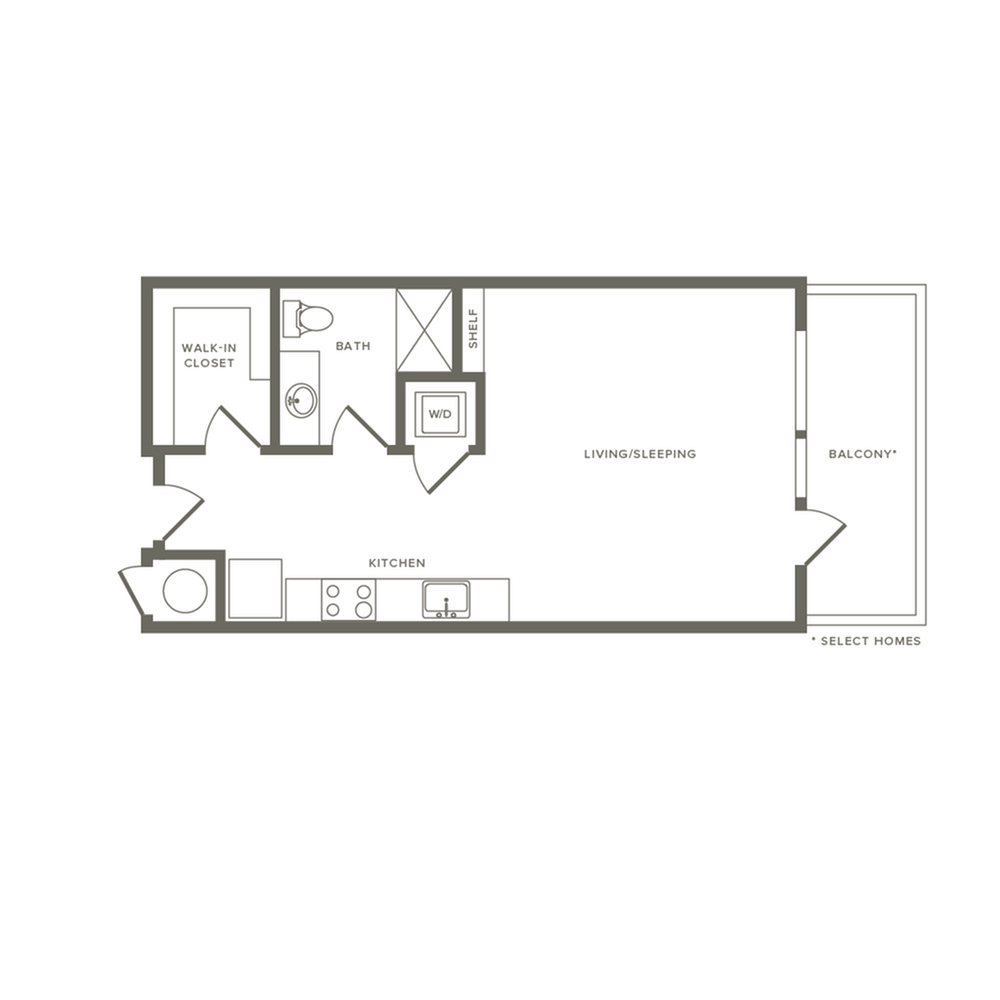 575 to 679 square foot studio one bath with balcony apartment floor plan image