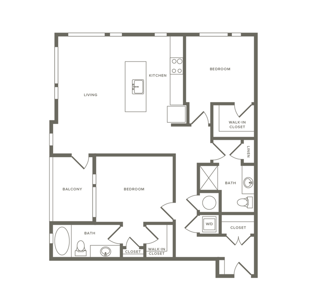 1143 to 1153 square foot two bedroom two bath apartment floorplan image