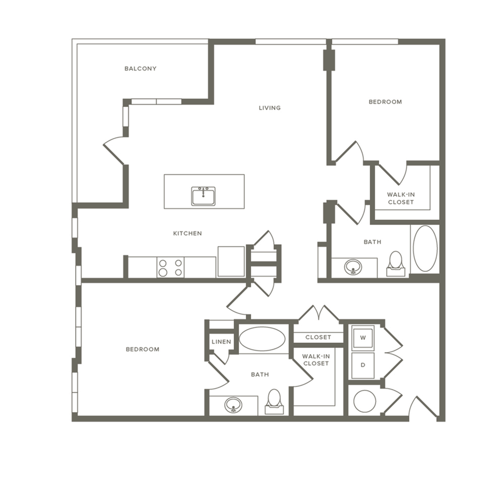 1224 square foot two bedroom two bath apartment floorplan image