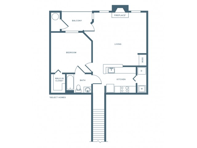 849 square foot renovated one bedroom one bath with attached garage apartment floorplan image