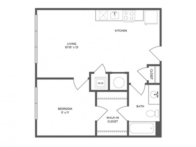 600 square foot one bedroom with walk-in closet one dual access bath apartment floorplan image