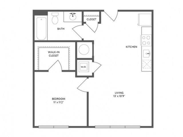 600 square foot one bedroom one bath apartment floorplan image