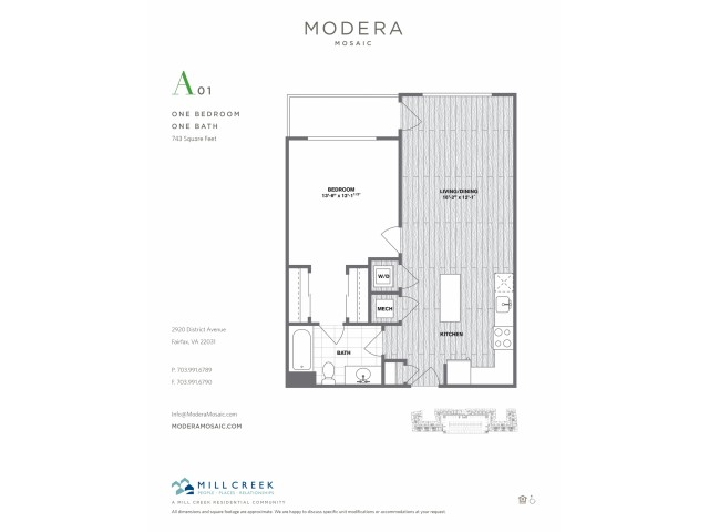 743 square foot one bedroom one bath apartment floorplan image