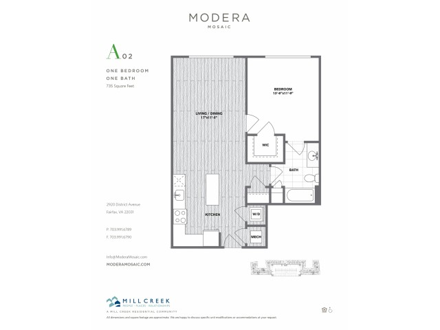 735 square foot one bedroom one bath apartment floorplan image