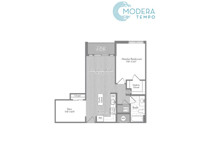 808 square foot one bedroom one bath with den apartment floorplan image