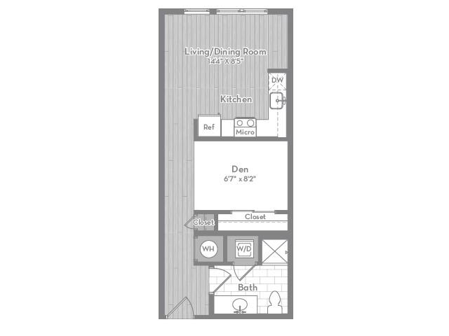 540 square foot studio one bath apartment floor plan image