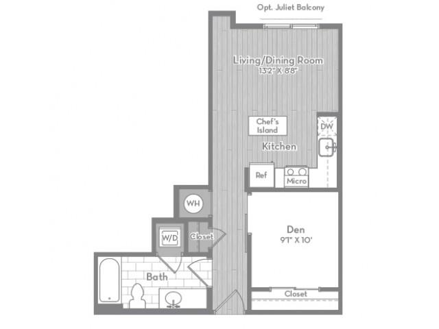 535 square foot Junior one bedroom one bath apartment floorplan image