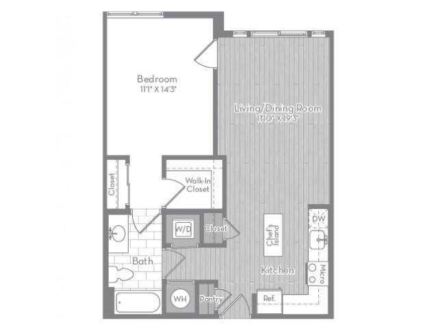 760 square foot one bedroom one bath apartment floorplan image