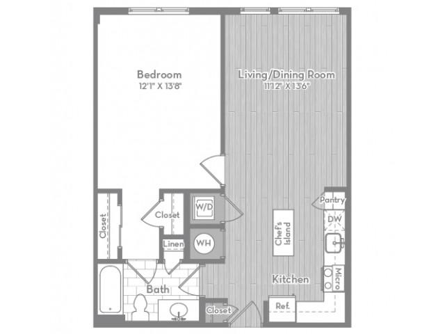690 square foot one bedroom one bath apartment floorplan image
