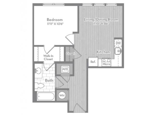 595 square foot one bedroom one bath apartment floorplan image