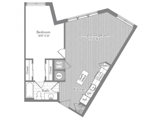 813 square foot one bedroom one bath apartment floorplan image
