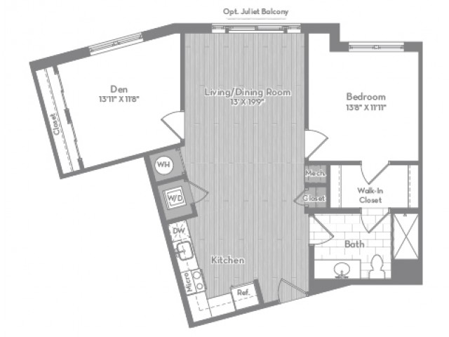 973 square foot one bedroom one bath with den apartment floorplan image