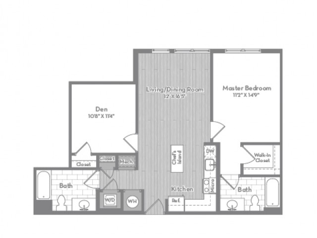 924 square foot Junior two bedroom two bath apartment floorplan image