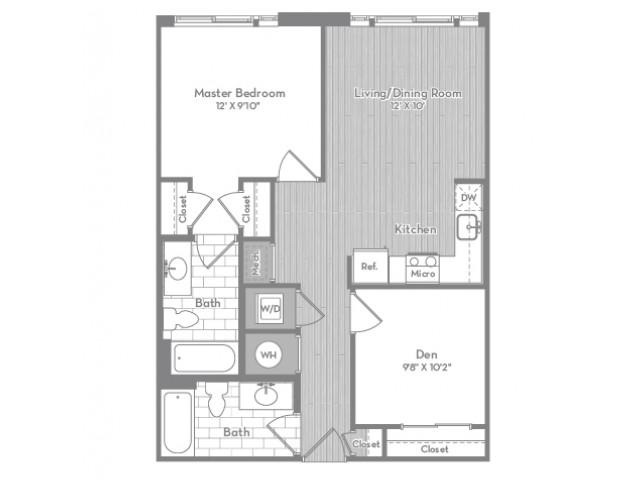 778 square foot Junior two bedroom two bath apartment floorplan image