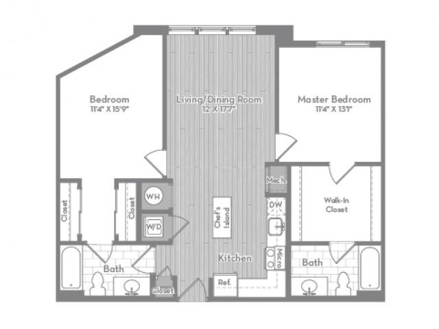 1027 square foot Junior two bedroom two bath apartment floorplan image