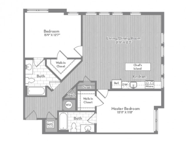 1290 square foot two bedroom two bath apartment floorplan image