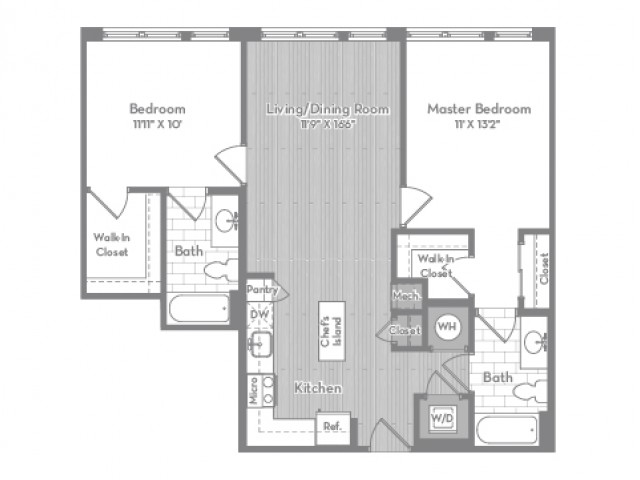974 square foot two bedroom two bath apartment floorplan image
