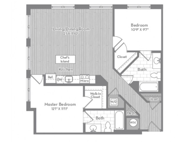 1117 square foot two bedroom two bath apartment floorplan image