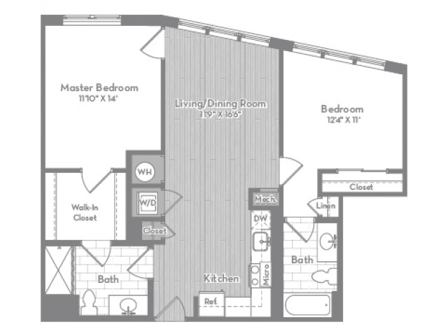 935 square foot Accessible two bedroom two bath apartment floorplan image