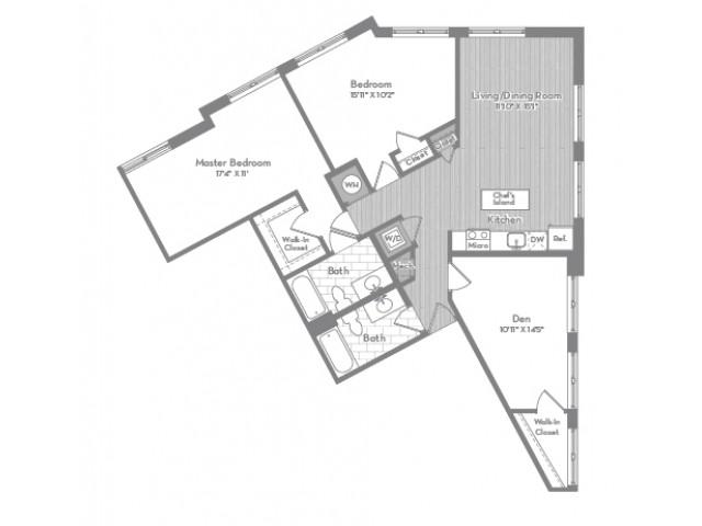 1336 square foot three bedroom two bath apartment floorplan image
