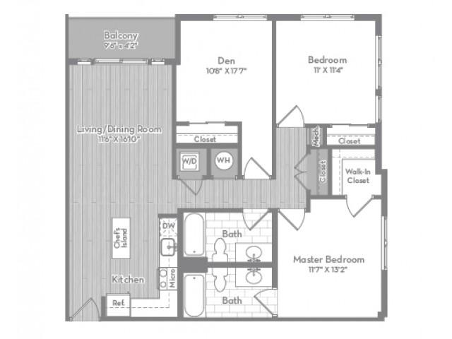1141 square foot three bedroom two bath apartment floorplan image