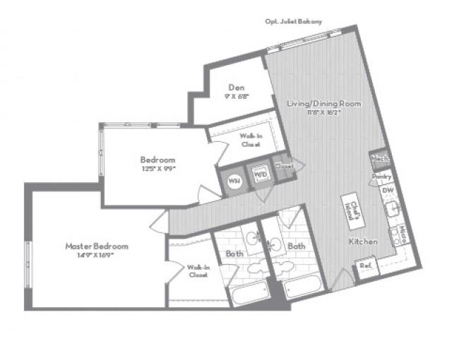 1236 square foot three bedroom two bath apartment floorplan image