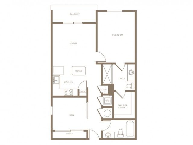 929 square foot one bedroom two bath with den phase II apartment floorplan image