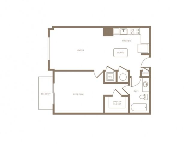 733 square foot one bedroom one bath phase II apartment floorplan image