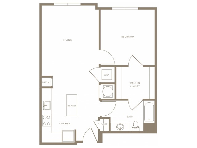 826 square foot one bedroom one bath hearing impaired  apartment floorplan image