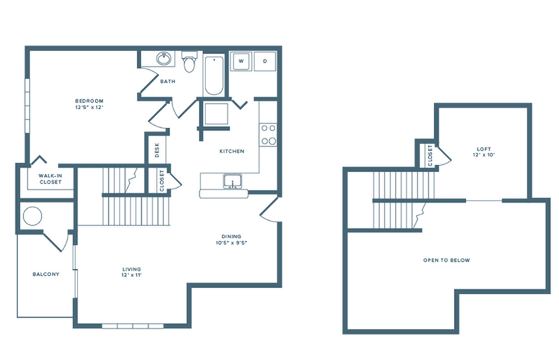 908 square foot renovated one bedroom loft one bath apartment floorplan image