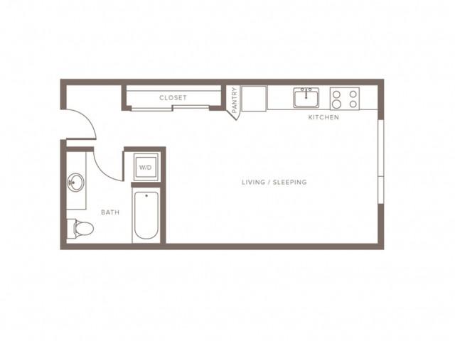 444 square foot studio one bath floor plan image