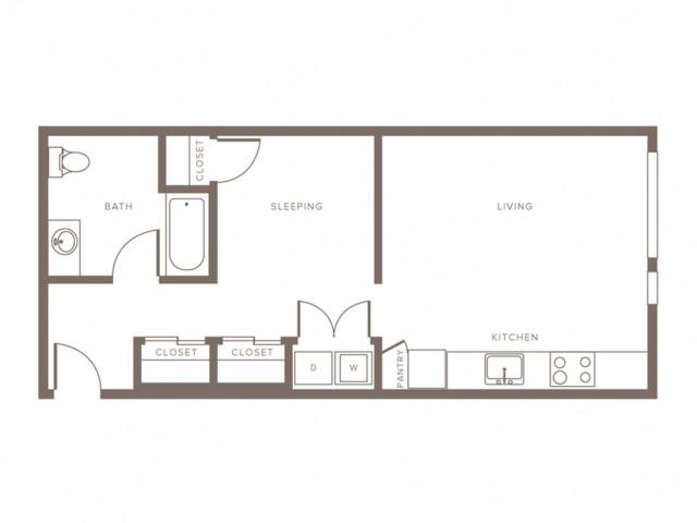 617 square foot one bedroom one bath apartment floorplan image