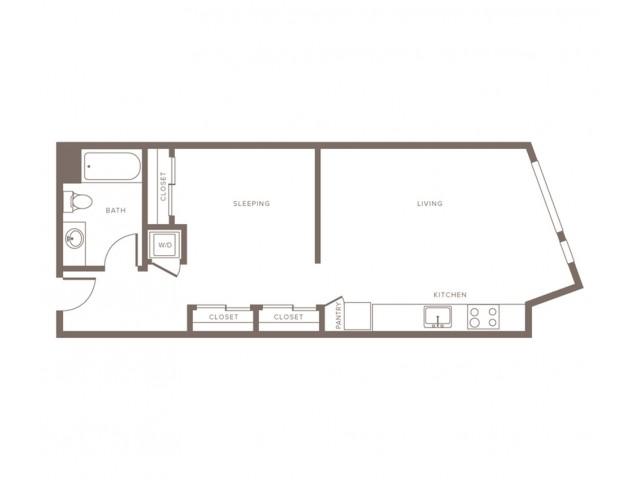 653 square foot one bedroom one bath apartment floorplan image