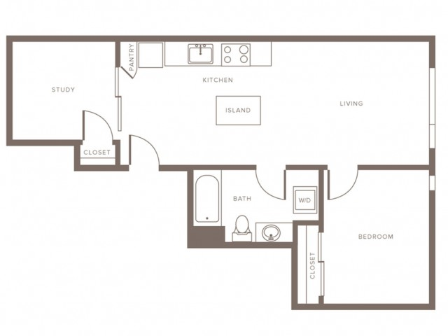 700 square foot one bedroom one bath with study apartment floorplan image