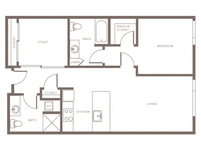 942 square foot one bedroom one bath with study apartment floorplan image