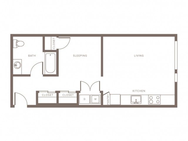 622 square foot MFTE Income Restricted one bedroom one bath apartment floorplan image