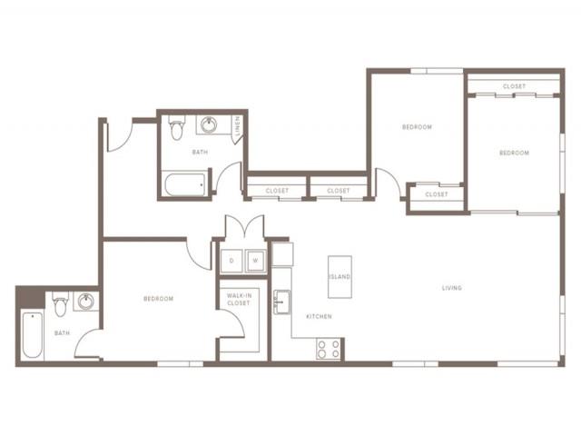 1296 square foot three bedroom two bath apartment floorplan image