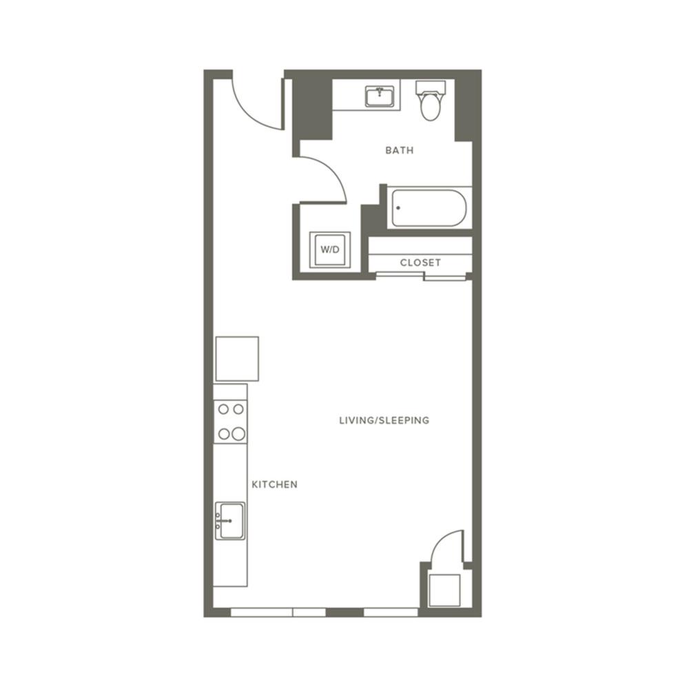 496 square foot studio one bath apartment floor plan image