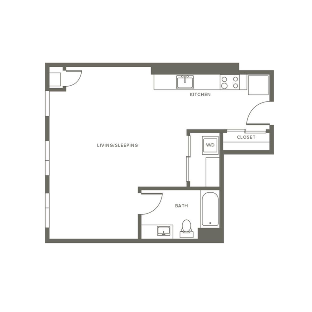 621 square foot studio one bath apartment floor plan image