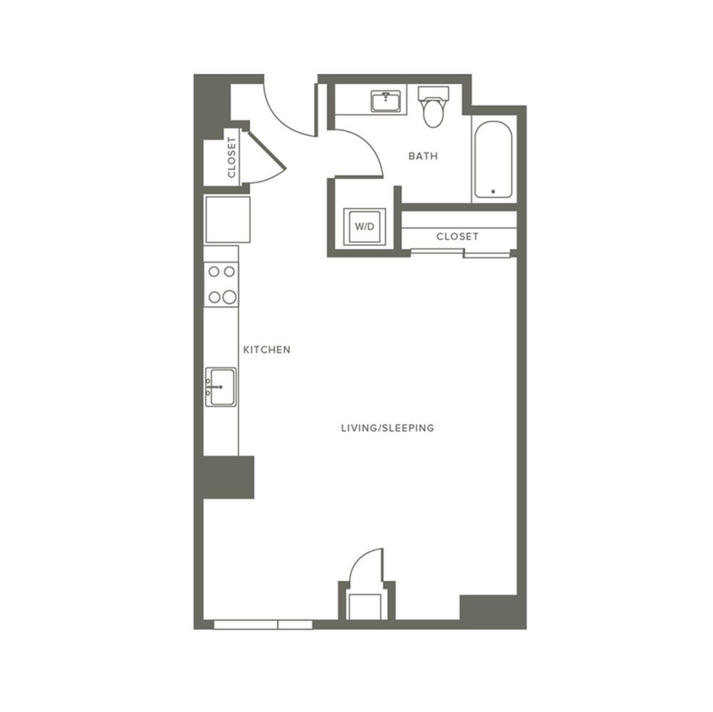 564 square foot studio one bath apartment floor plan image