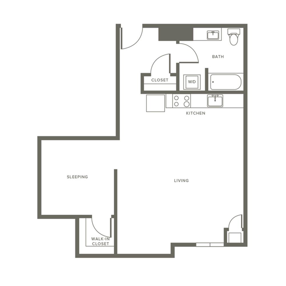 747 square foot one bedroom one bath apartment floorplan image