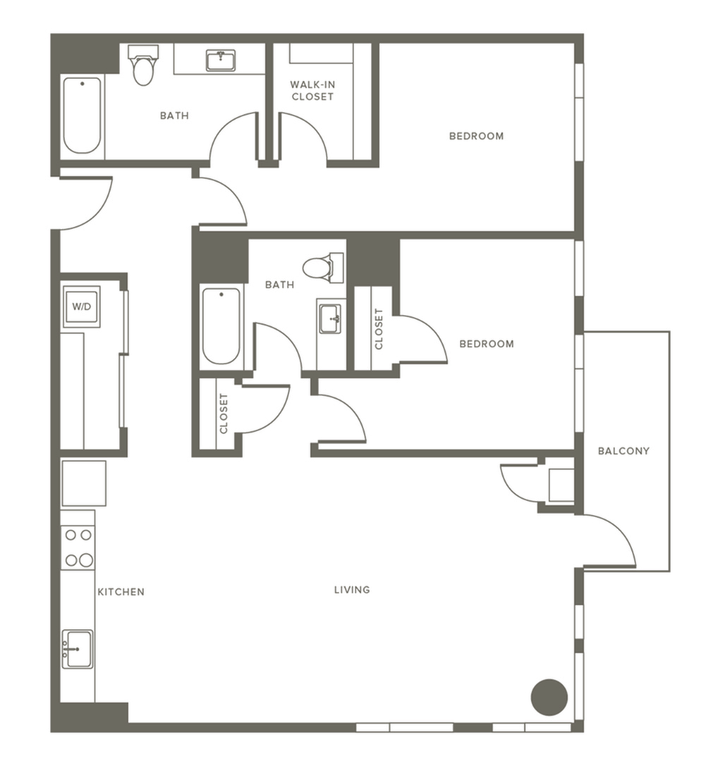 1241 square foot two bedroom two bath apartment floorplan image