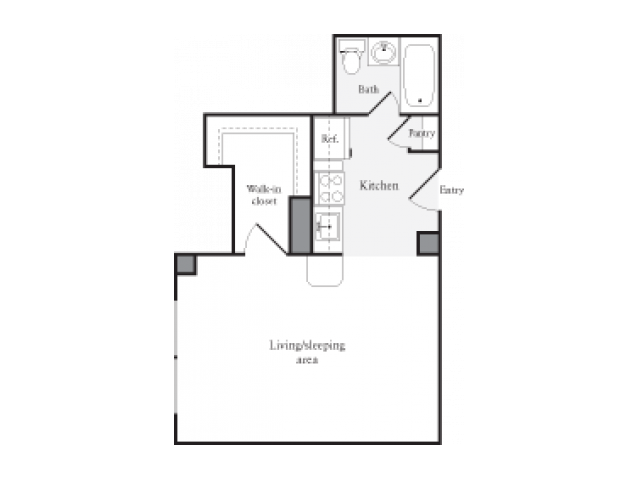 423 square foot studio one bath floor plan image