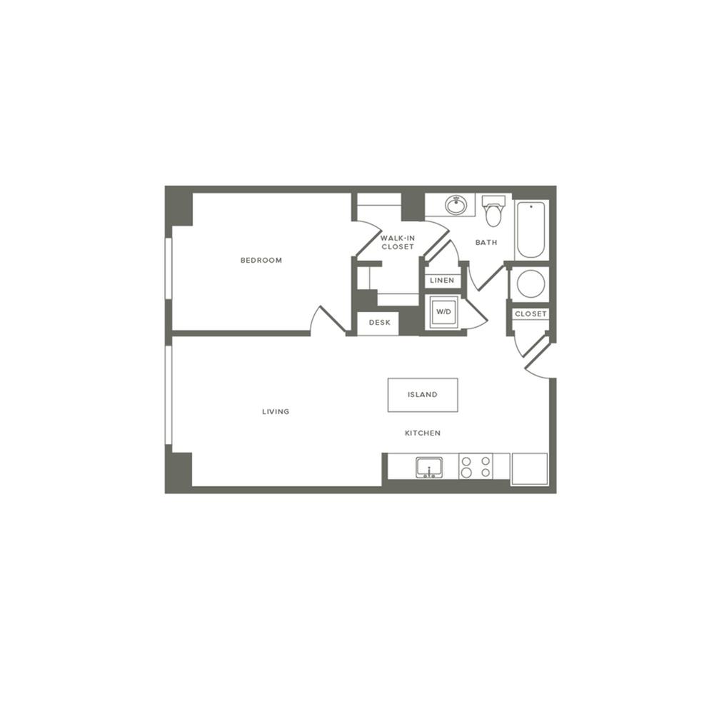745 square foot one bedroom one bath apartment floorplan image