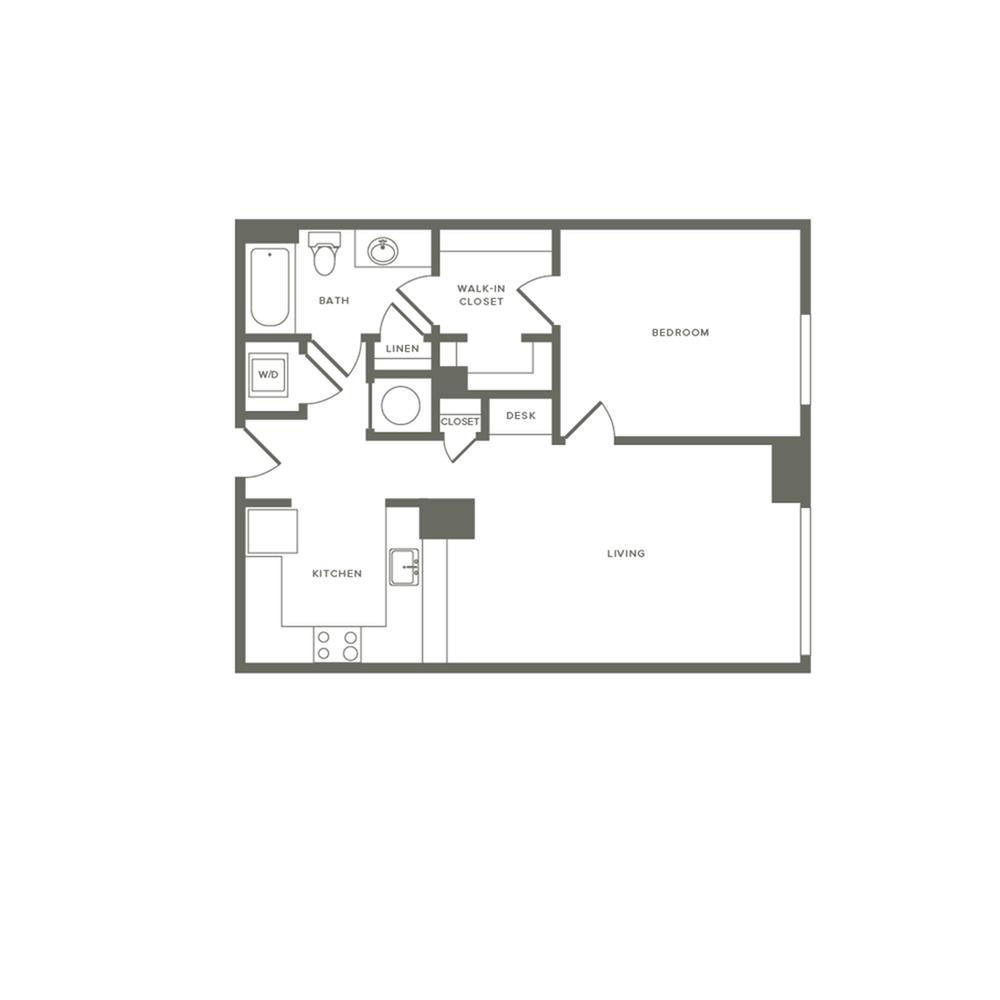 761 square foot one bedroom one bath apartment floorplan image