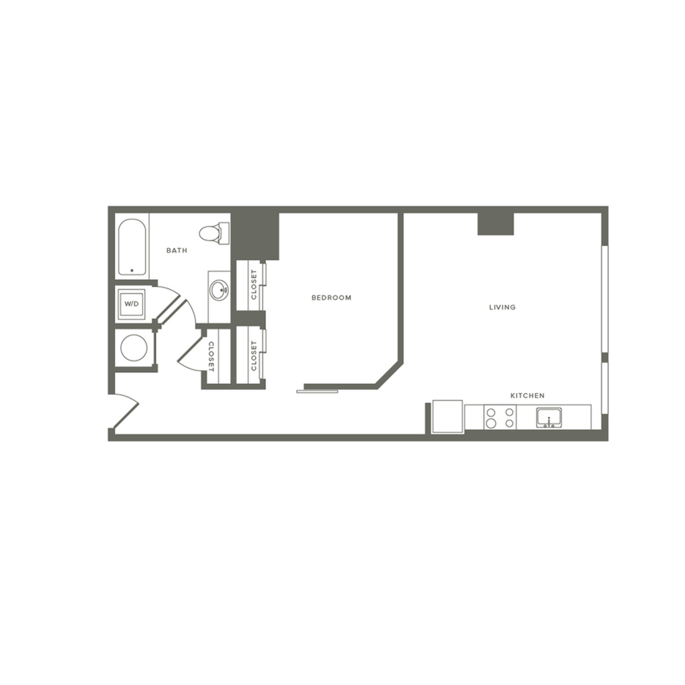 703 square foot one bedroom one bath apartment floorplan image