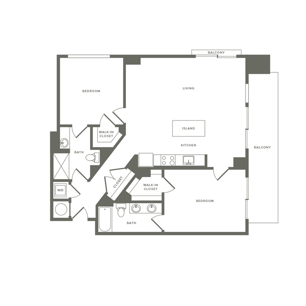 1219 square foot two bedroom two bath apartment floorplan image